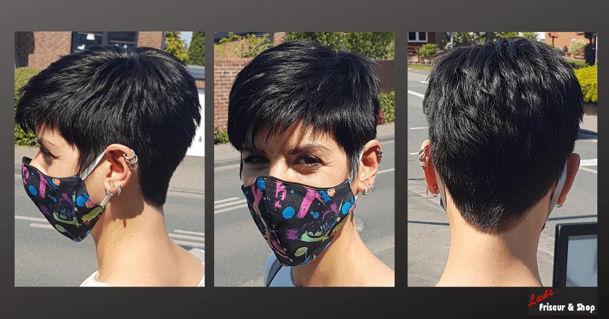 kurzer Damenhaarschnitt in der Farbe schwarz von Lauts Friseur und Shop in Stade