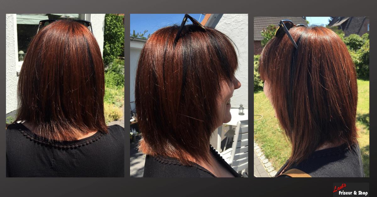 Damenhaarschnitt halblang und rot von Lauts Friseur und Shop in Stade