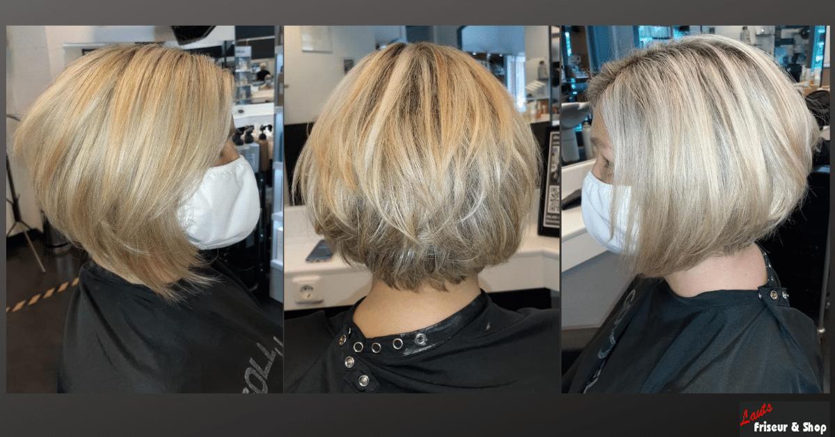 Damenhaarschnitt kurzer hellblonder Bob von Lauts Friseur und Shop in Stade
