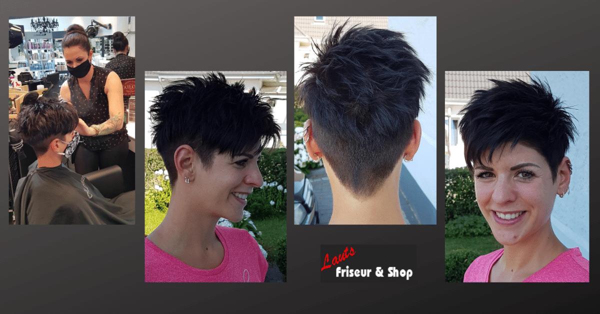 Damenhaarschnitt kurze blaue Haare von Lauts Friseur und Shop in Stade