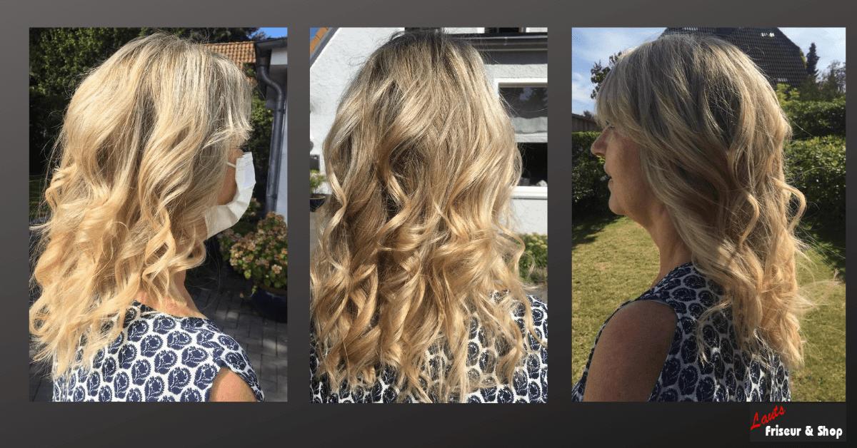 Damenhaarschnitt lang, blond und lockig von Lauts Friseur und Shop in Stade