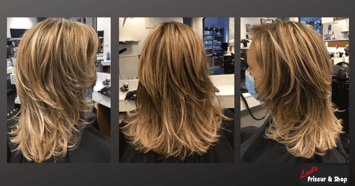 Damenschnitt mit blonden stufigen Strähnen von Lauts Friseur und Shop in Stade