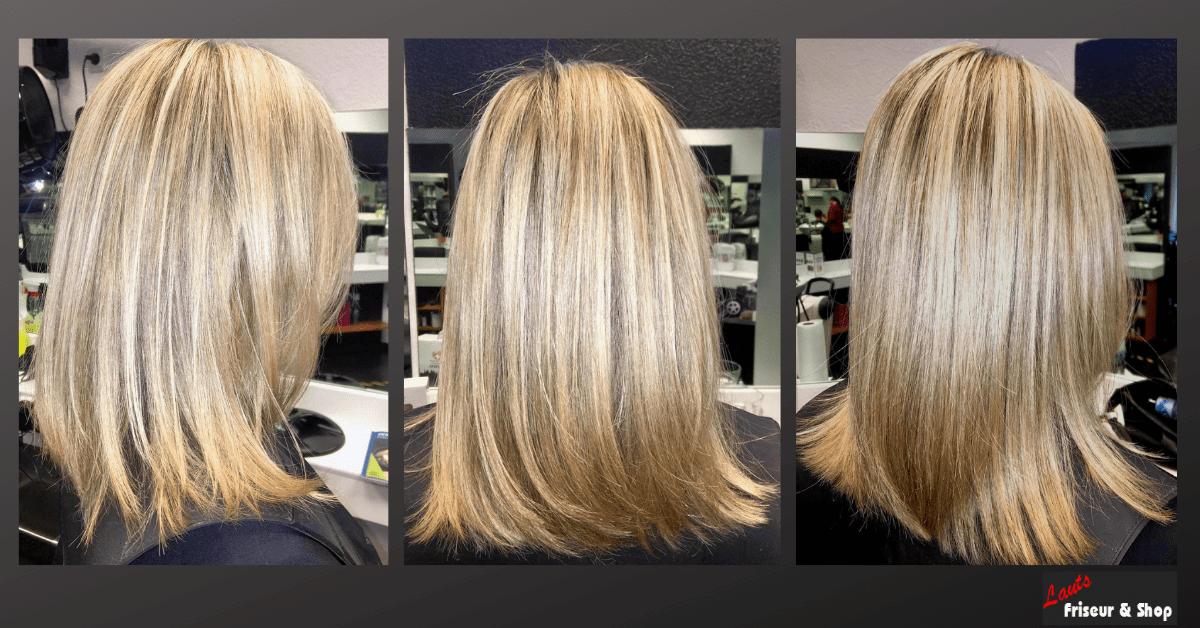 Damenschnitt mit hellen blonden Strähnen von Lauts Friseur und Shop in Stade