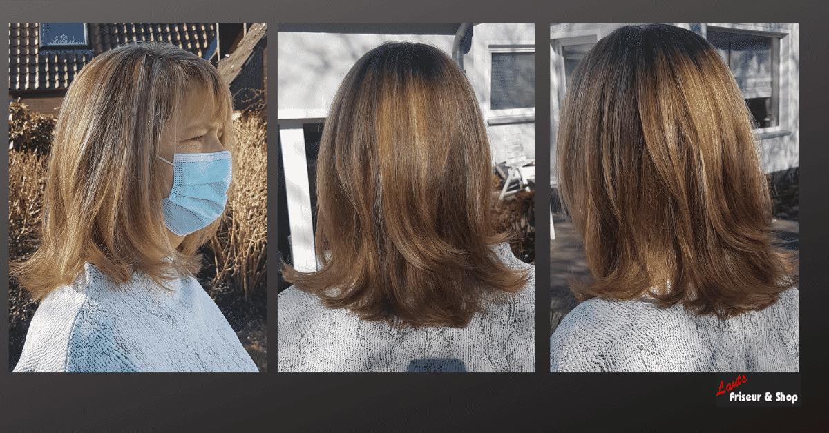 Damenschnitt mit halblangen Strähnen von Lauts Friseur und Shop in Stade