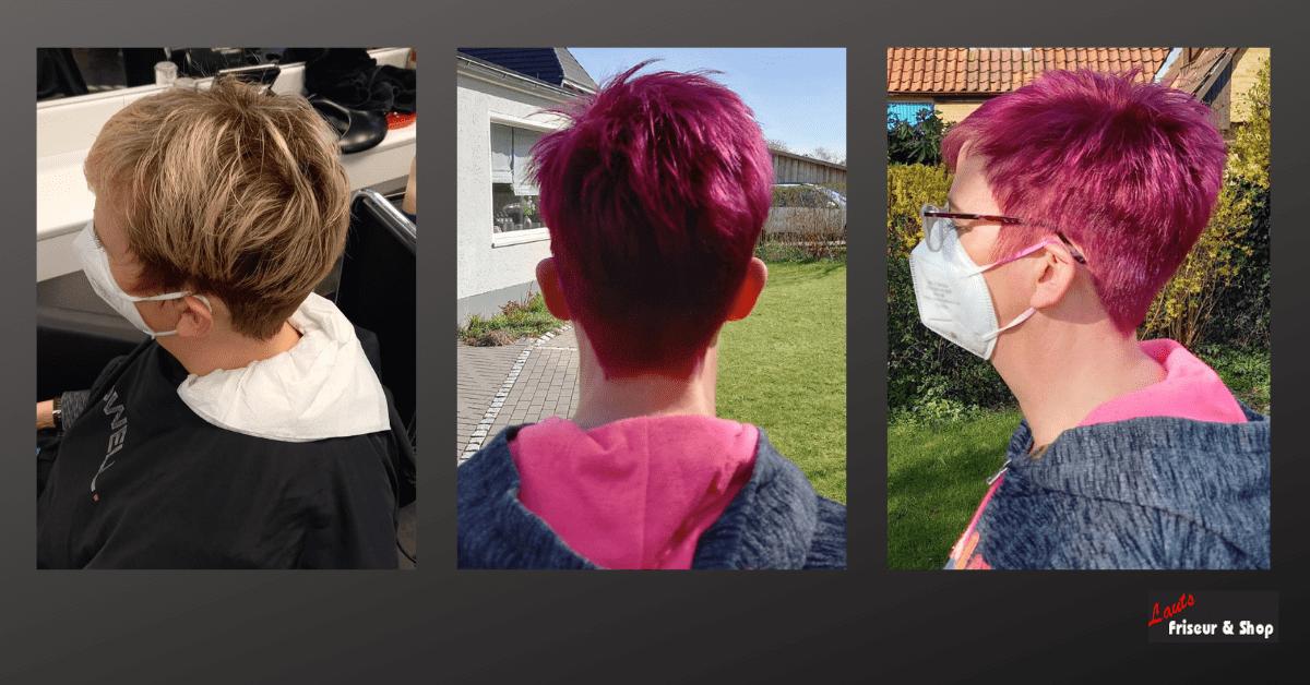 kurzer Damenschnitt mit violetter Färbung von Lauts Friseur und Shop in Stade